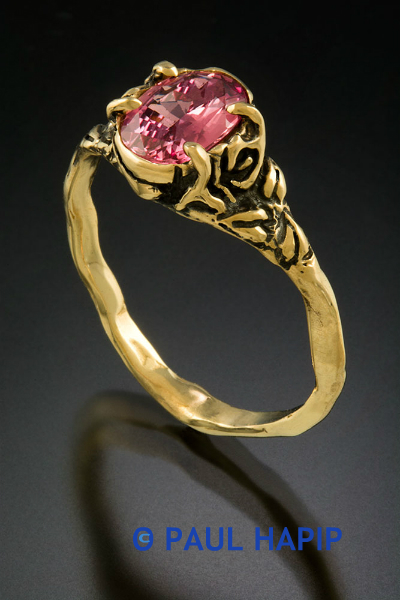 Cala Lilly flower, Philodendron leaves, heart-shaped leaves, Padparascha Sapphire, 14 kt. gold ring